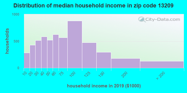 Zip code 13209 household income distribution in 2009