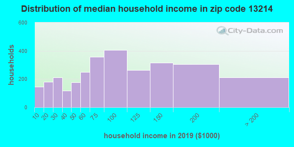 Zip code 13214 household income distribution in 2009