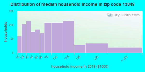 Zip code 13849 household income distribution in 2013