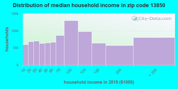 Zip code 13850 household income distribution in 2009