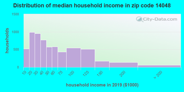 Zip code 14048 household income distribution in 2009