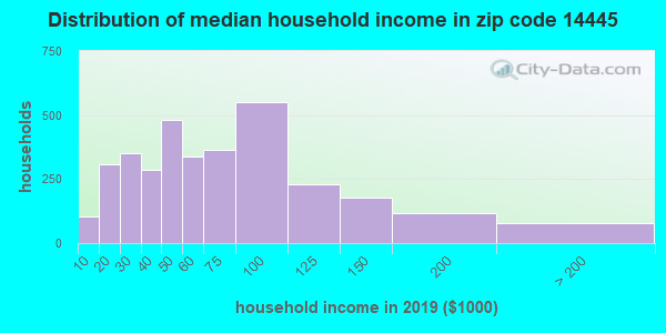 Zip code 14445 household income distribution in 2009