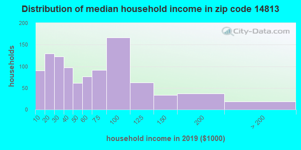 Zip code 14813 household income distribution in 2009