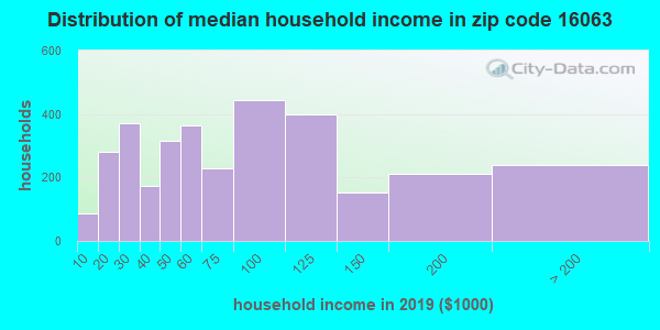 Zip code 16063 household income distribution in 2009