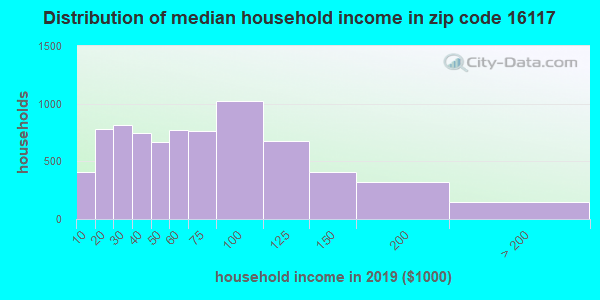 Zip code 16117 household income distribution in 2009