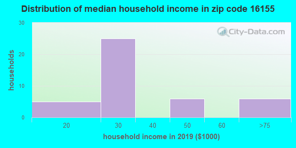 Zip code 16155 household income distribution in 2009