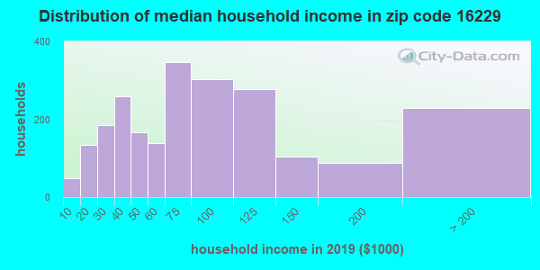 Zip code 16229 household income distribution in 2009