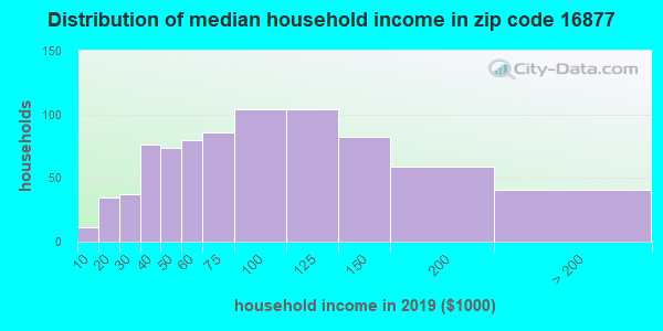 Zip code 16877 household income distribution in 2009