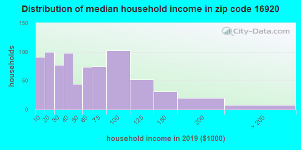 Zip code 16920 household income distribution in 2009