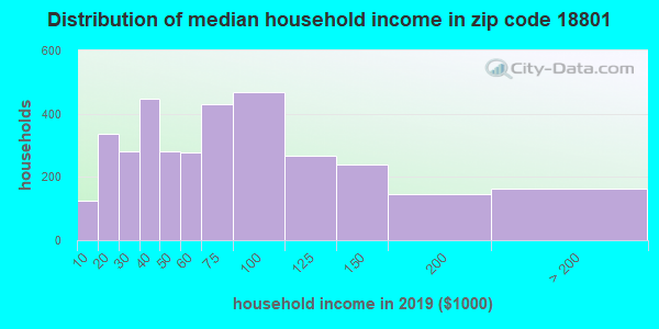 Zip code 18801 household income distribution in 2009