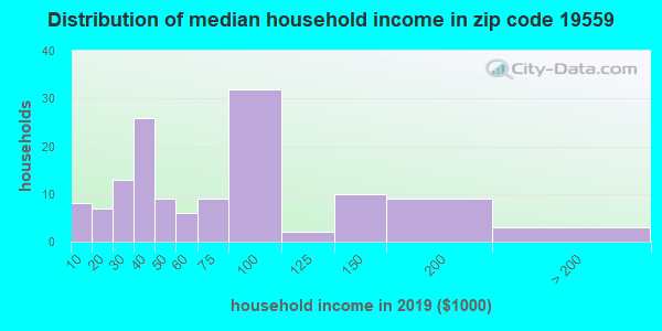 Zip code 19559 household income distribution in 2013