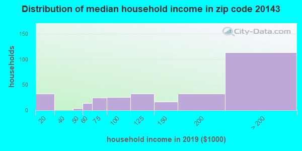 Zip code 20143 household income distribution in 2009