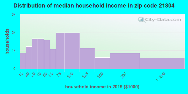 Zip code 21804 household income distribution in 2009