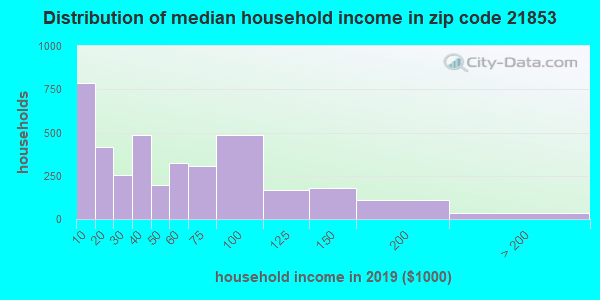 Zip code 21853 household income distribution in 2009