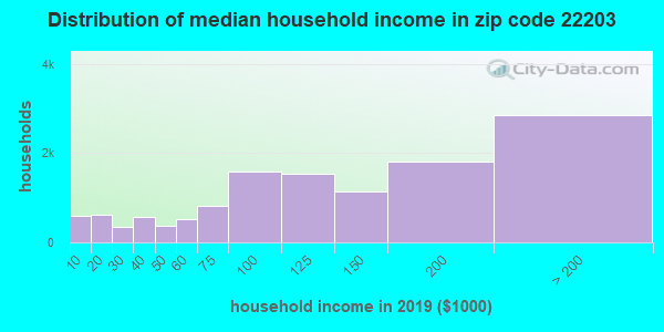 Zip code 22203 household income distribution in 2009