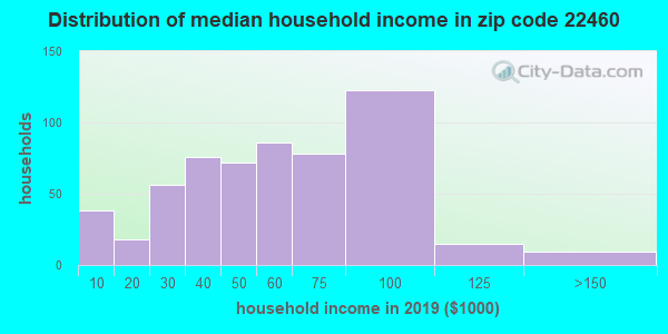 Zip code 22460 household income distribution in 2009