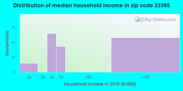 Zip code 23395 household income distribution in 2009