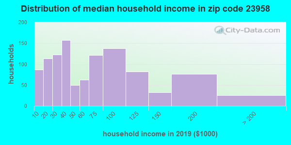 Zip code 23958 household income distribution in 2009
