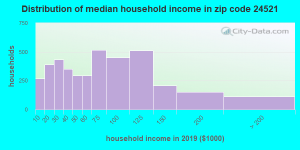 Zip code 24521 household income distribution in 2009