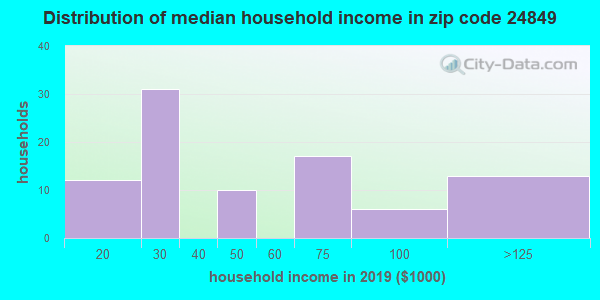 Zip code 24849 household income distribution in 2009
