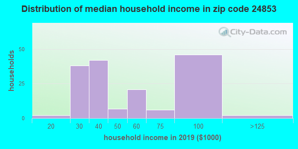Zip code 24853 household income distribution in 2009