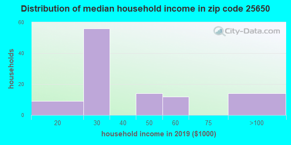 Zip code 25650 household income distribution in 2009