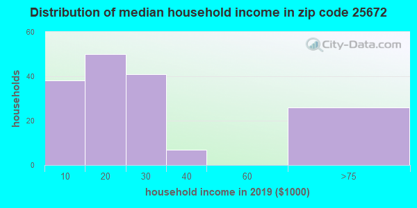 Zip code 25672 household income distribution in 2009