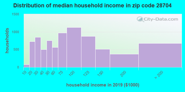 Zip code 28704 household income distribution in 2013