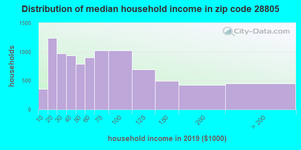 Zip code 28805 household income distribution in 2009