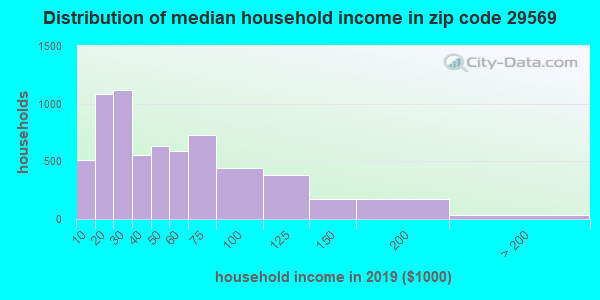 Zip code 29569 household income distribution in 2009