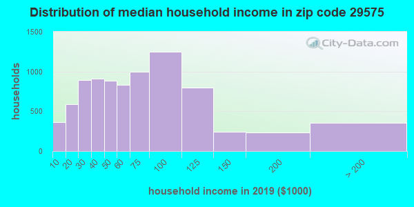 Zip code 29575 household income distribution in 2009