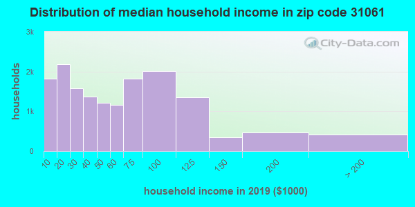 Zip code 31061 household income distribution in 2009