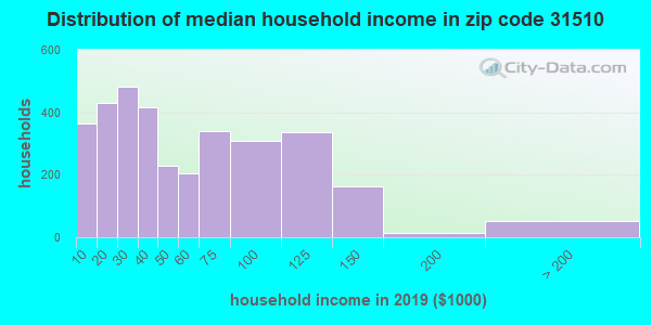 Zip code 31510 household income distribution in 2009