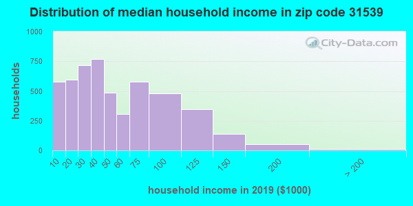 Zip code 31539 household income distribution in 2009