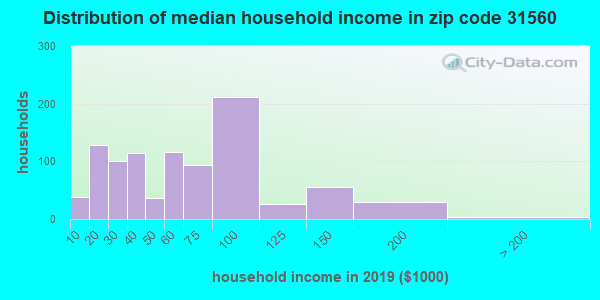 Zip code 31560 household income distribution in 2009