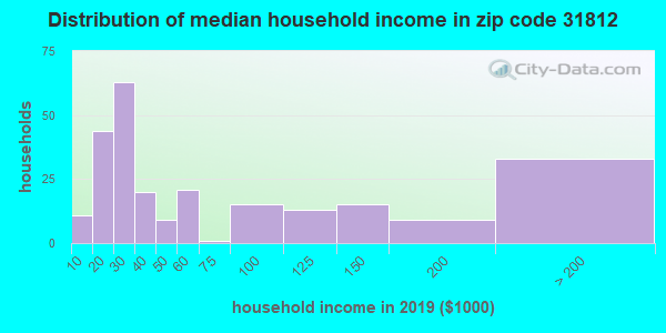 Zip code 31812 household income distribution in 2009