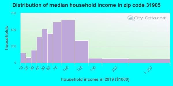 Zip code 31905 household income distribution in 2009