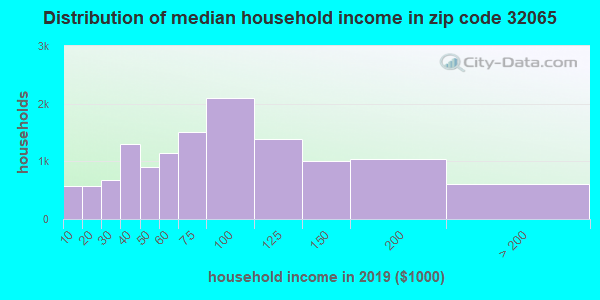 Zip code 32065 household income distribution in 2009