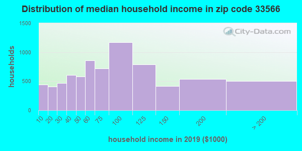 Zip code 33566 household income distribution in 2009