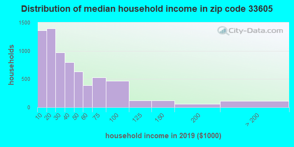 Zip code 33605 household income distribution in 2009