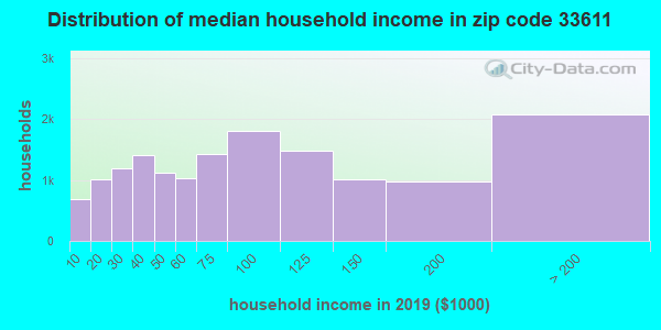 Zip code 33611 household income distribution in 2009