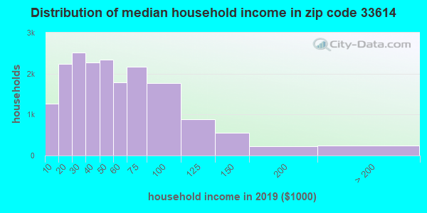 Zip code 33614 household income distribution in 2009