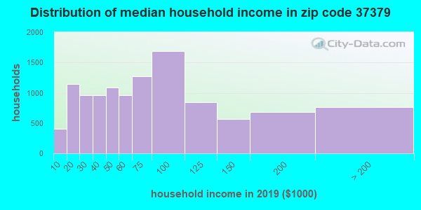 Zip code 37379 household income distribution in 2009
