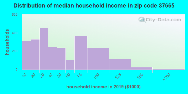 Zip code 37665 household income distribution in 2009