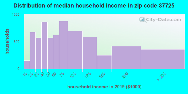Zip code 37725 household income distribution in 2009