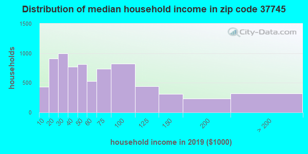 Zip code 37745 household income distribution in 2009