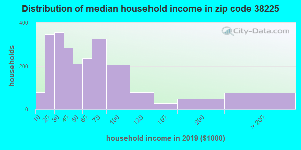 Zip code 38225 household income distribution in 2009