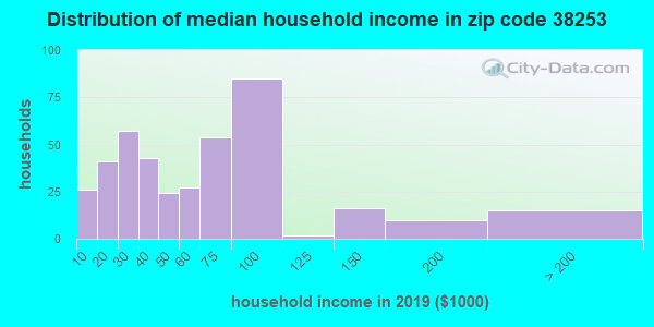 Zip code 38253 household income distribution in 2009
