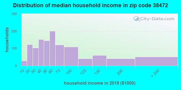 Zip code 38472 household income distribution in 2009