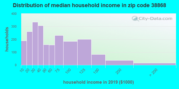 Zip code 38868 household income distribution in 2009